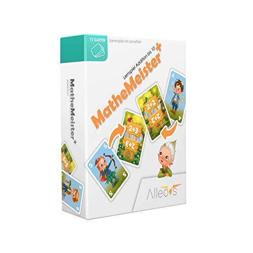 ALLEOVS® Mathemeister PLUS+ Lernspiel für Addition Plusrechnen –Blitzrechen im Kopf - Mathematik Summieren Grundschule Reaktionsspiel für Kinder ab 6 Jahren (2-4 Spieler)