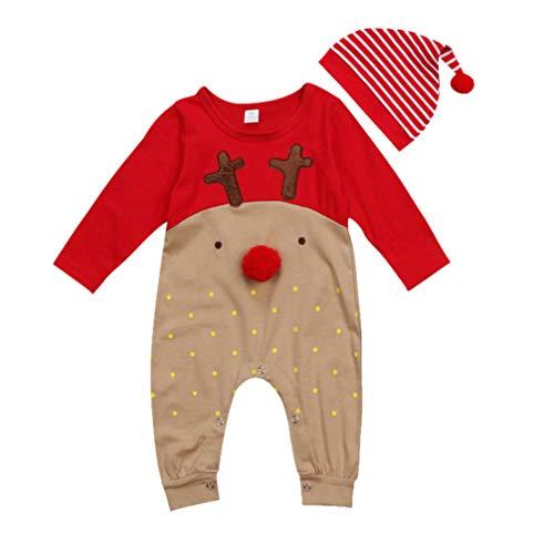 KESYOO 1 Set di Vestiti Natalizi Neonato Babbo Natale Vestiti Natalizi Vestiti Natalizi Set di Pantaloni con Cappello per Bambine Adatto per 6-12 Mesi (80 Cm)