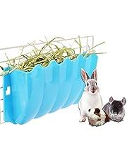 Gofeibao Comederos Rejilla para Heno Conejo Accesorios para Conejos Dispensador De AlimentacióN para HáMster Rejilla para Heno Se Puede Fijar Adecuado para Conejos Cobayas Blue