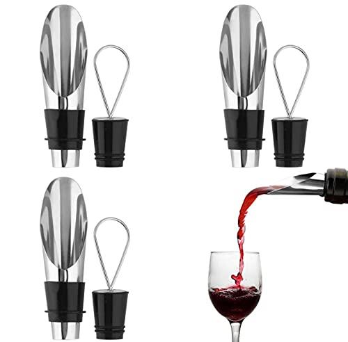 Escanciador de vino con vertedor antigoteo, Decantador oxigenador de vino, Tapones y Vertedores Acero Inoxidable para Vino (Pack de 3)
