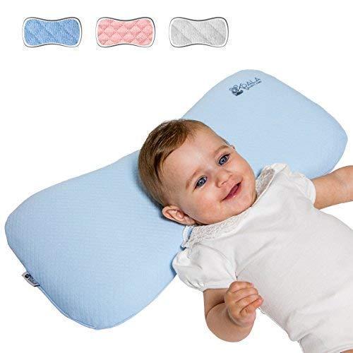 Cojín Ortopédico para bebe 0-36 Meses Plagiocefalia desenfundable por la cama (con dos cobertores) para prevenir y curar la Cabeza plana in Memory Foam Antiasfixia - KoalaBabycare® - Azul - Maxi