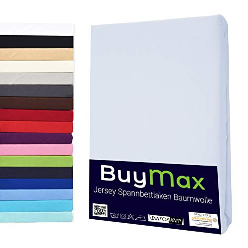 Buymax Spannbettlaken Stretch 140x200-160x220 cm für Wasserbetten und Boxspringbetten Bettbezug für Matratzen bis 40 cm Steghöhe, Weiß