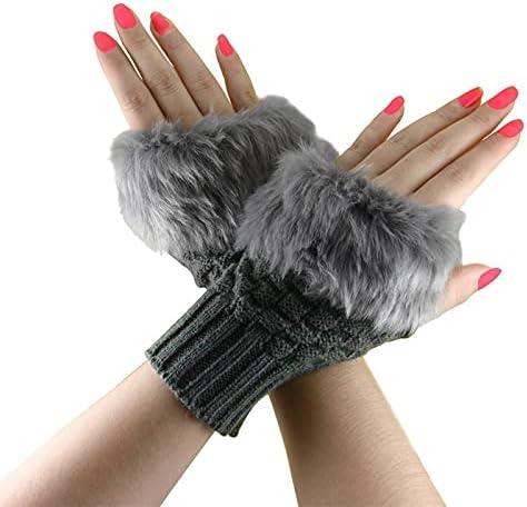 Tgnk Winter Women's Gloves Plush Knit Short Mittens, Fingerless Ladies and Girls Half-Finger Gloves (Color : Deep, Gloves Size : One Size)