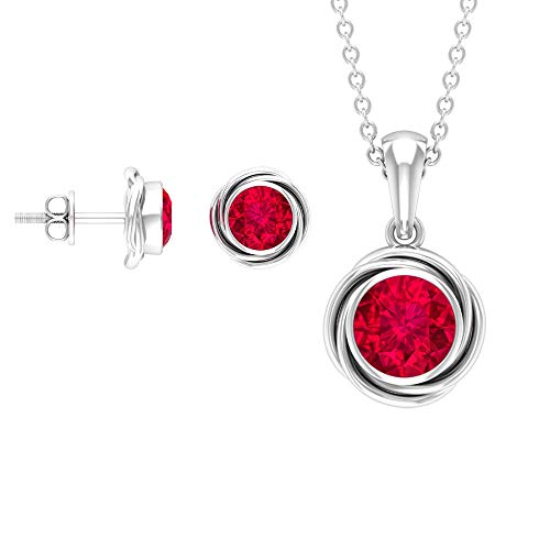 Rosec Jewels 14 quilates oro blanco redonda Red Ruby