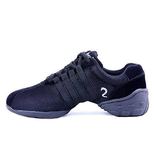 HIPPOSEUS Women's Mesh Dance Sneakers with Split Sole Modern Jazz Hip Hop Dance Shoes,Black,Model WX-P28, 8 B(M) US