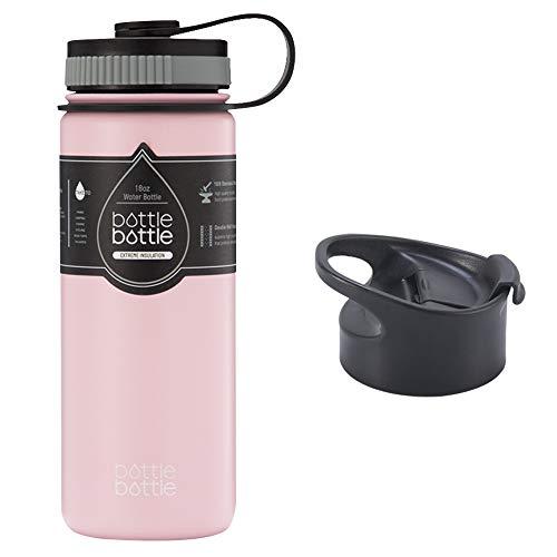 水筒 630ml ステンレス 真空断熱 持ち手付き 2点フタ付き 直飲み 大容量 保温保冷 スポーツボトル スポーツウォーターボトル アウトドア bottlebottle ピンク
