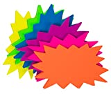 60 Pack Neon Paper Starburst Sale Signs for Retail Store, 6 Fluorescent Colors, 3 x 5 In.