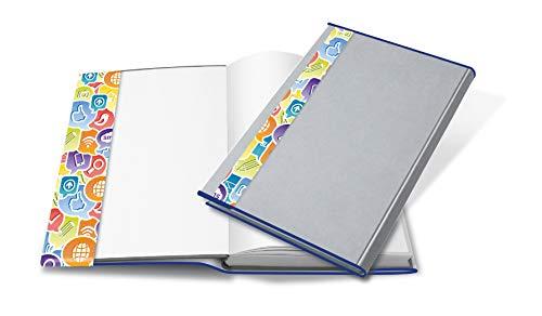 HERMA 26265 Buchumschlag HERMÄX Design Social Icons (Größe 26,5 x 54 cm, transparent) Buchhülle aus robuster Folie mit Namensetikett, 5er Set Buchschoner für Schulbücher