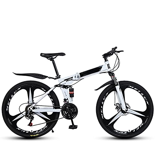 Adult Mountain Bike, 26-inch Wheels, Dual Disc Brake Bicycle Blackred, High-carbon Steel Frame Dual Full Suspension, Alloy Frame Bicycle for Boys, Girls, Men and Women/white / 26inch