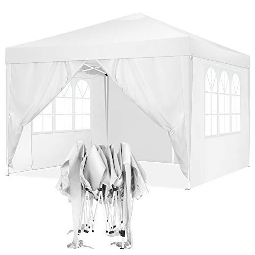 TOOLUCK 3x3 Pavillon Faltpavillon Wasserdicht Pop-Up Pavillon UV-Schutz Gartenpavillon Bierzelt mit 4 Seitenteilen, Weiß