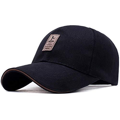 PPSTYLE EDIKO Marca Gorra de Béisbol Sombrero Casual Primavera Hombre Mujer Algodón Ajustable Color Sólido Marca Golf Bone-Negro