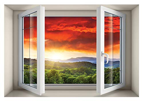 The Nisha Window Art Pictures Peel and Stick Magic 3D Vinyl Removable Wall Sticker Decals Sticky Backsplash DIY Mural, Red Clouds View (27.6' X 19.7') 5002-UK