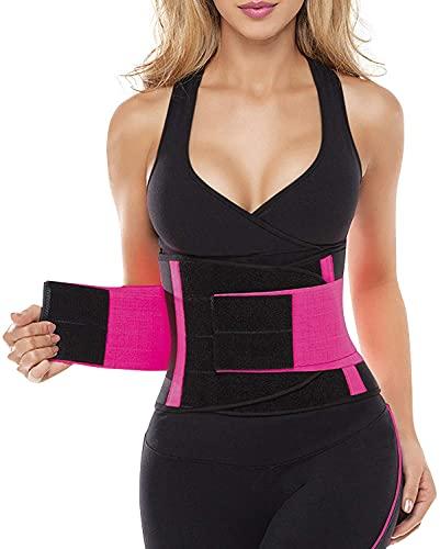 SHAPERX Women Waist Trainer Belt Waist Trimmer Belly Band Body Shaper Sports Girdles Workout Belt, SZ8002-Rose-L