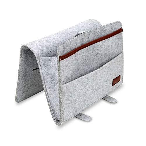 Bolsos de cama, compartimento de noche con correas, antideslizante, bolsa de almacenamiento organizador para sofá, mesa, prama, cable, portátil, auriculares, auriculares, Felt, gris, 30*22*8cm