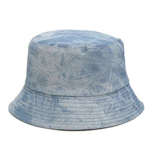 Bucket Hat Chapeau Tie Dye Denim Bucket Hat Cap Casual Jean Réversible Panama Two Side Wear Femmes Chapeau De Soleil Randonnée en Plein Air Casquette De Pêche Adultize Lightdenim