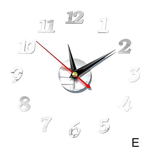 HYRFS 3D estéreo Decorativo Reloj de Pared acrílico Espejo Digital Etiqueta de la Pared Reloj de Pared decoración Moderna del hogar-E