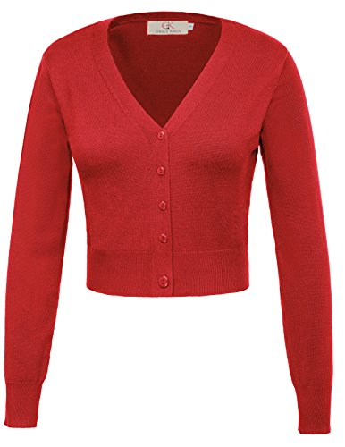 Mujer Bolero de Punto Manga Larga Cuello V para Vestido Rojo M CLAF20-4