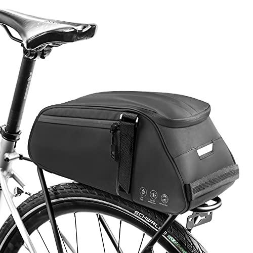 YeenGreen Bolsa Bicicleta Trasera, Bolsas de Bicicleta Impermeable Portaequipajes, 3 en 1 con Bolsillo Múltiple, Bolsa de Hombro & Tira Reflectante para Asiento de Bicicleta al Aire Libre
