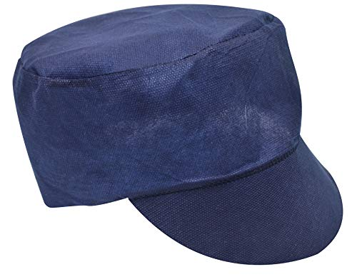100 Pack of Blue Peaked Caps 80g (Peak) + 40g (Crown). Navy Color Polypropylene Safety Caps. Unisex Disposable Hair Protection for Food Industry Workers. Form Fitting. Latex Free. One Size fits All.