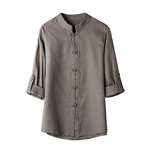 Zarupeng Herren Shirt Hemd Klassischen Chinesischen Stil Kung Fu Shirt Tops Tang Anzug Einfarbig 3/4 Ärmel Leinen Bluse Buddha Leinenhemd (3XL, Grau)