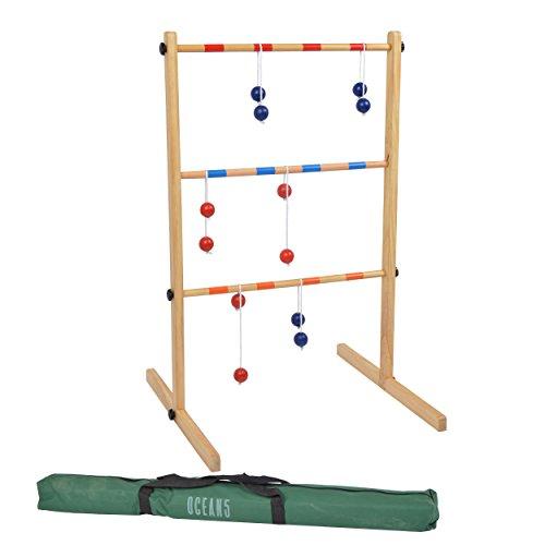 Ocean 5 - Leitergolf mit 6 Doppelkugeln - das Wurfspiel inkl. Bolas - Kultspiel Laddergolf 100cm hoch - das Geschicklichkeitsspiel aus Holz inkl. Tasche