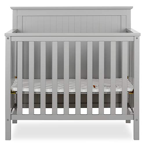 Dream On Me Ava 4-in-1 Convertible Mini Crib in Pebble Grey, Greenguard Gold Certified