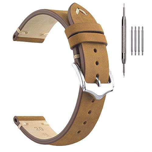 Correas de Reloj Vintage, Cada Correa de Reloj de Cuero de Crazy Horse, 20 mm, Correa de Reloj para Hombre, Color Canela
