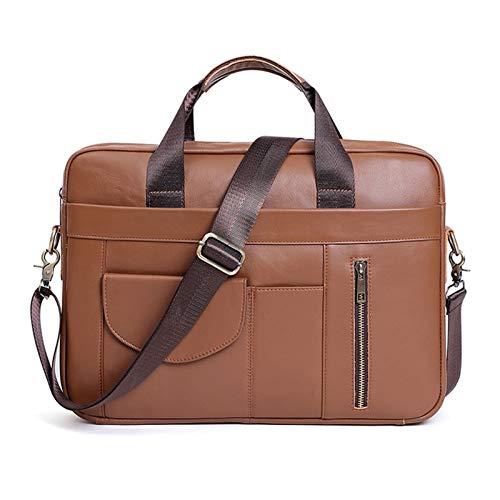 Laptop Briefcase Men's Business Messenger Tote Bag Mens 15.6inch Laptop Portfolio Fashion Casual Crossbody Shoulder Bag Genuine Leather Handbag Messenger Bag Business Briefcase Men Women Classic Commu