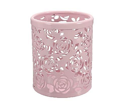 ZHJDX Métal Rose Fleur Creux Crayon Pot Pot Cylindre Conteneur Maquillage Cosmétique Brosses Titulaire