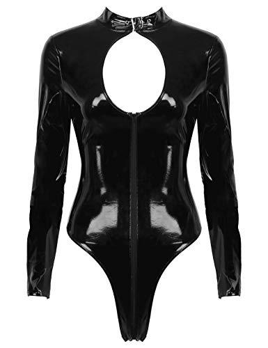 Freebily Womens Wet Look Patent Leather Buckled Neck Long Sleeves Zipper Leotard Bodysuit Clubwear