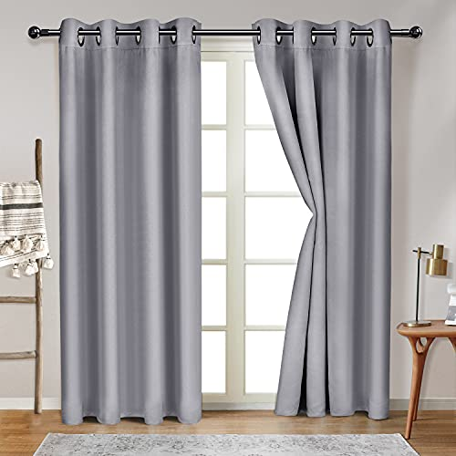 DORPU Blackout Curtains for Bedroom 84 Inches Long Thermal Insulated Grey Curtains Drapes for Sliding Glass Door 52 x 84 Inch Grey 2 Panels (W52 x L84 inches, Light Gray)
