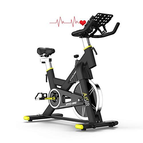 ANEWSIR Hometrainer Fahrrad Spinning Bikes, Heimtrainer mit Schutzhülle/LCD-Display/Pulsmesser/iPad Wasserflasche-Halterung/Magnetischer Widerstand/Komfortsattel, Benutzergewicht bis 200kg.