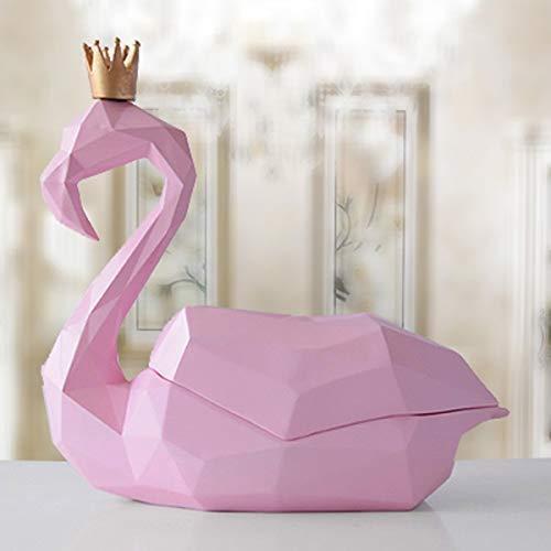 COLiJOL Portapapeles Flamingo Tissue Holder Desktop Caddy, Origami Geométrico Dispensador de Papel Facial Servilletero Organizador, Adornos de Escritorio (Color: Bronze),Rosa