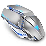 TENMOS T21 Bluetooth Mouse, 2.4G LED Dual Mode (Bluetooth 5.1+ USB) Bluetooth Wireless Mouse, Rechargeable Silent Computer Gaming Mice for Laptop, iPad, MacOS, PC, Windows, Android (Silver)