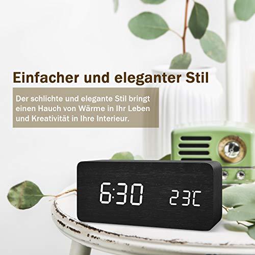 FiBiSonic Digital Wecker mit Geräuschaktivierung/Temperaturanzeige/einstellbare Helligkeit/Datumsanzeige | Schwarz