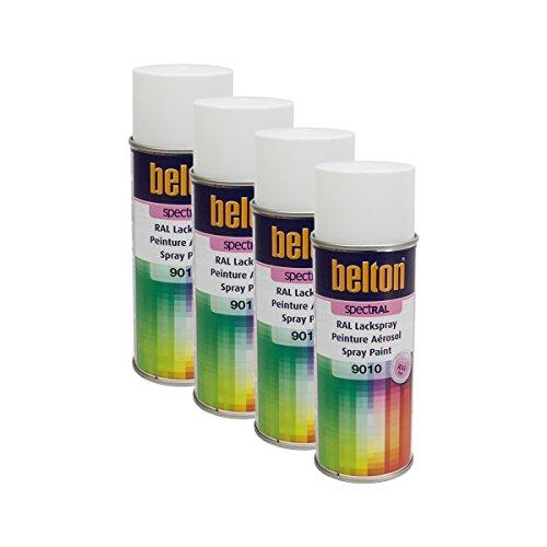 Kwasny 4 x 324 190 Belton Spectral Vernis en spray RAL 9010 Blanc brillant 400 ml