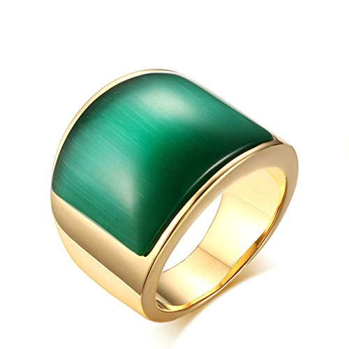 AnazoZ roestvrij staal 18k vergulde ringen voor unisex groen glas kristal grave service