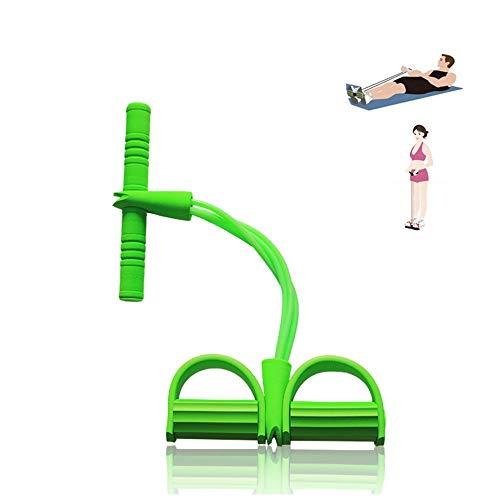 Qplcdg Fitness-Zugseil,Pedal Zugseil Körper 4 Tube Übungsgerät Bodybuilding Zugseil Bauchbein Oberschenkel Arme Muskeln Bauch. (Grün)