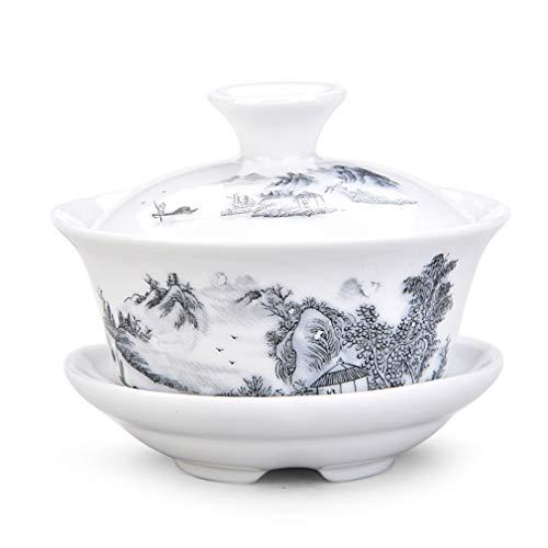 CUPWENH Peint À La Main De Chine Gaiwan Dehua De Haute Qualité en Porcelaine Blanche Tasse De Thé Ensemble pour Les Voyages Belle Et Facile Bouilloire