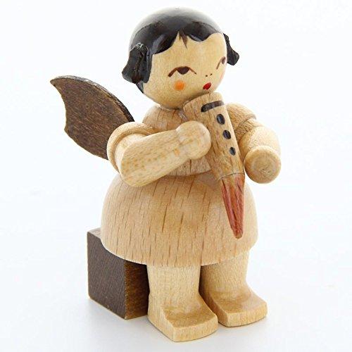 Uhlig Engel sitzend mit Gemshorn natur handbemalt