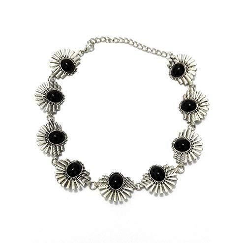 SILXLZH Collar de Gargantilla de Babero de Piedra Natural Negra Joyería Corta Rhinestone Aleación Collares Pendientes Cadena de Plata Antigua