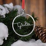 Pallina stilizzata,realizzata a mano,con scritta personalizzabile!Leggera,adatta come decorazione dell'albero di Natale,da appendere al muro o sulla porta.