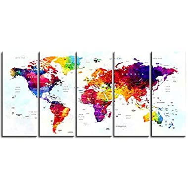 Original by BoxColors Xlarge 30 x 70  5 Panels 30x14 Ea Art Canvas Print World Map Original Watercolor Push Pin Travel cities Wall Home Office decor (framed 1.5  depth)