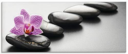 Artland Glasbilder Wandbild Glas Bild einteilig 125x50 cm Querformat Asien Wellness Zen Steine Spa Blumen Blüten Orchideen Entspannung T5ON