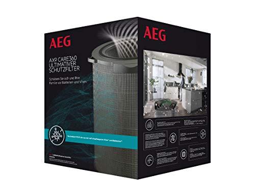 AEG AFDCAR6 Filter CARE360 (Passend für AX91-604DG & AX91-604GY Luftreiniger, aktiver Virenschutz, beseitigt 99,9% der Bakterien und Viren, reine Luft, Feinstaubfiltration, lange Lebensdauer, grau)