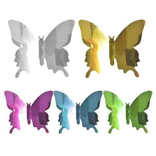 IWILCS Espejo de Bricolaje Mariposa de 60 Piezas, Espejo de Mariposa, Pegatinas de Pared con Efecto Tridimensional, para el hogar, decoración de la habitación(púrpura, Verde, Azul, Oro, Plata)