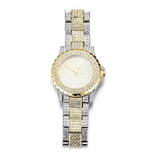 Halukakah Reloj de Oro Hombres Iced out,Chapada En Oro Blanco De Platino con Mezcla De Oro Real De 18K Pulsera de Cuarzo 8.7'(22cm),Cz Completo Diamante de Laboratorios,Gratis Caja de Regalo