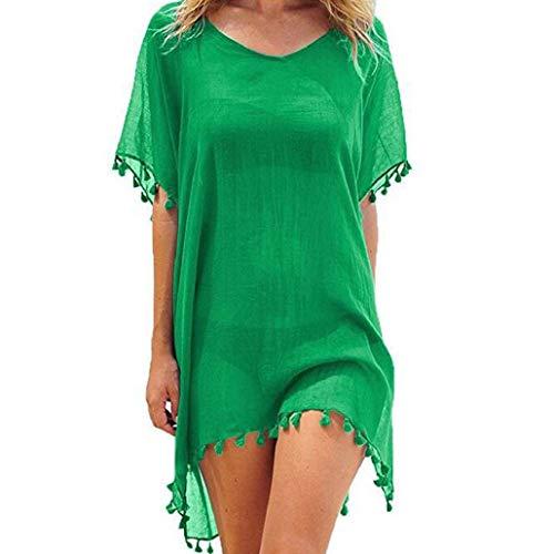 heekpek Damen Strandkleid Sommer Transparent Bikini Cover up Einfarbig Badeanzug Cover Up mit Quasten Strandponcho Günstig Strandkleid Boho Tunika