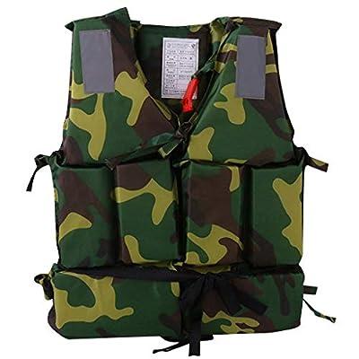 Huilaibazo Adults Adjustable Life Jacket Unisex Aid Vest Kayak Buoyancy Fishing Boat Watersport