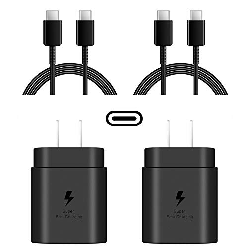USB C 25W Wall Charger, 2-Pack PD Fast Charger and 2-Pack 6.6Ft Type C to Type C Cable for Samsung Galaxy S8/S9/S10/Plus/Note10/10+/S20/S10 5G Model,Google Pixel 4/4XL/3/3XL/3a/2/2XL,iPad Pro 11/12.9